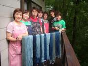 綿糸と麻糸の藍染め